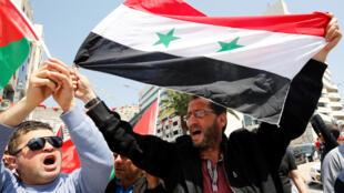 反對空襲的敘利亞民眾