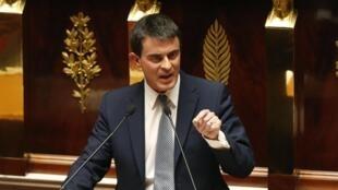 Le Premier ministre Manuel Valls lors de son discours à l'Assemblée nationale, le 8 avril 2014.