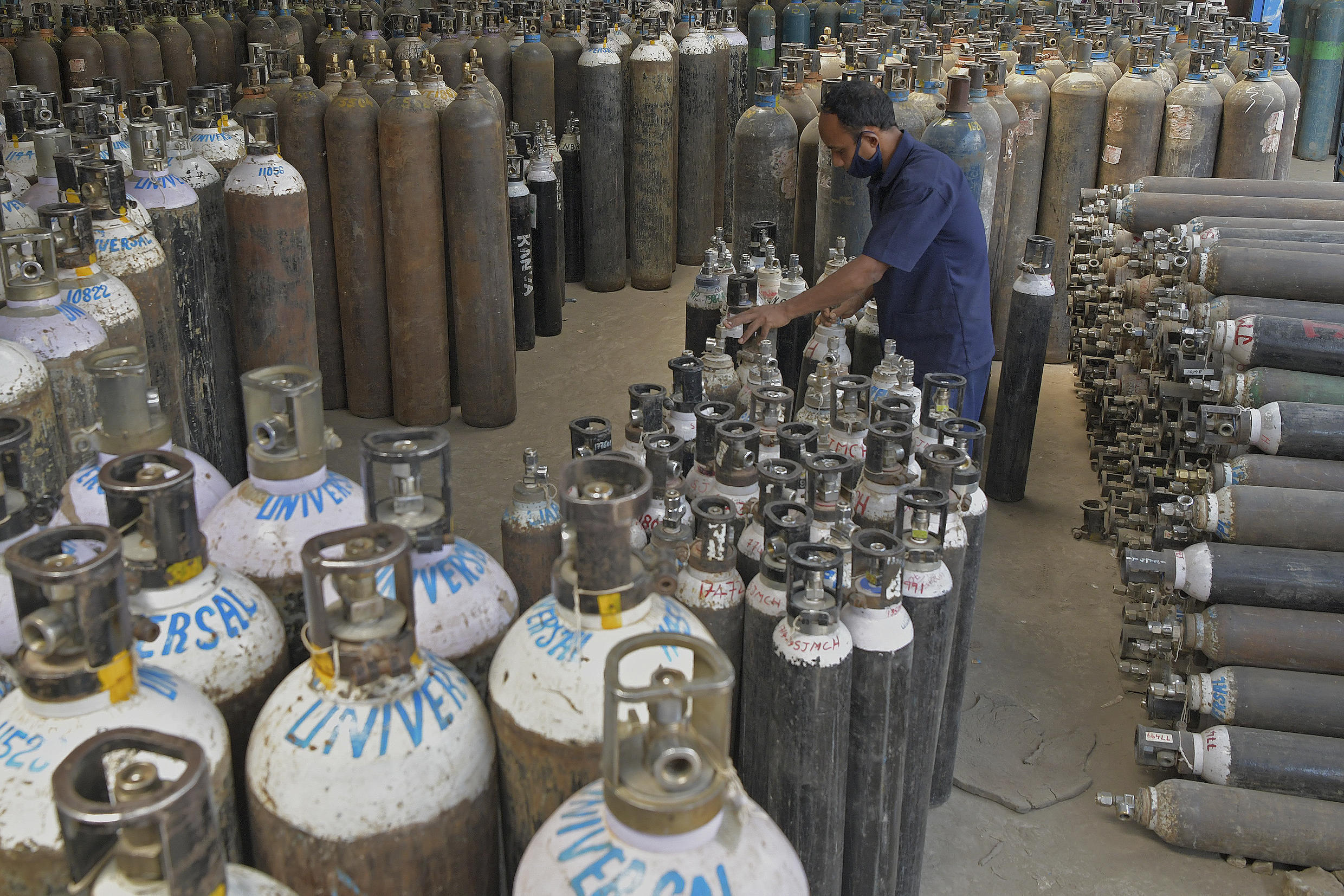 Many hospitals in India are running short of oxygen cylinders used to supply ventilators for Covid-19 patients