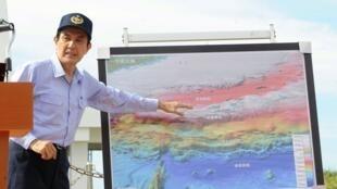Le président taïwanais évoque les îles Senkaku-Diaoyu lors d'un discours, le 7 septembre 2012.