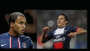 Fotomontagem dos jogadores do Paris St Germain (PSG) Lucas e Marquinhos.