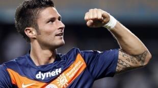 Olivier Giroud, le joueur de Montpellier, petit nouveau du groupe France.