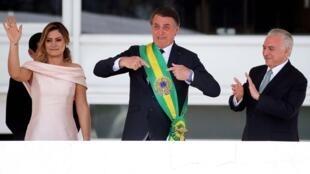 Le 26 octobre 2018, Jair Bolsonaro, candidat de l'extrême droite, est élu président du Brésil. Ici, le jour de son investiture, le 1er janvier 2019.