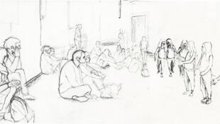 Philippe Parreno, Annlee de Tino Sehgal, dessiné au Palais de Tokyo, 2013. Crayon sur papier