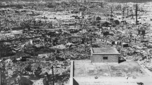 Hiroshima le 6 août 1945 après l'explosion de la bombe nucléaire américaine