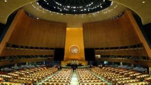 سالن مجمع عمومی سازمان ملل متحد، در مقر این سازمان در نیویورک.