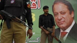 Portrait de Nawaz Sharif, favori des élections législatives pakistanaises. Peshawar, le 7 mai 2013.