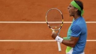 O espanhol Rafael Nadal depois de ter vencido contra o sueco Robin Soderling. Roland Garros, Paris 6 de junho de 2010.