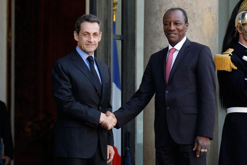 Guinea's President Alpha Condé meets Nicolas Sarkozy in March this year