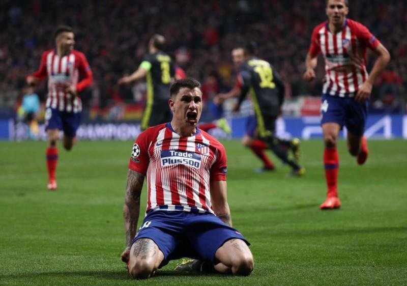 Dan wasan Atletico Madrid Jose Gimenez, yayin murnar jefa kwallo a ragar Juventus.