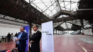 Pompidou centre president Serge Lasvignes (R) and Brussels region president Rudi Vervoordt unveil the project on Thursday
