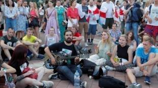 Les manifestants opposés à Alexandre Loukachenko se sont encore mobilisés dans les rues de Minsk, le 16 août 2020.