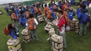 Escoteiros começaram a chegar a Kristianstad na véspera da abertura do 22° Jamboree
