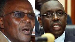 Ousmane Tanor Dieng(G) et Macky Sall (D) deux candidats à la présidentielle au Sénégal.