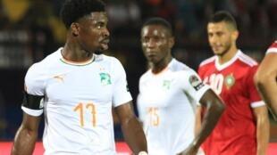 L'Ivoirien Serge Aurier, lors du match Côte d'Ivoire /Maroc, pendant la CAN 2019.