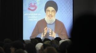 Le chef du Hezbollah Hassan Nasrallah lors d'un discours diffusé à la télévision libanaise, le 24 juillet 2013.