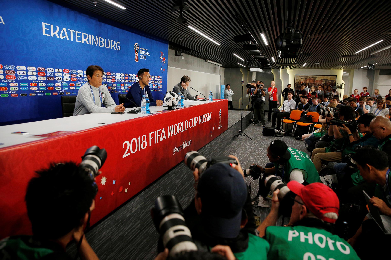 Lors de la conférence de presse du Japon, avant le match face au Sénégal, le 23 juin 2018 à Ekaterinbourg.