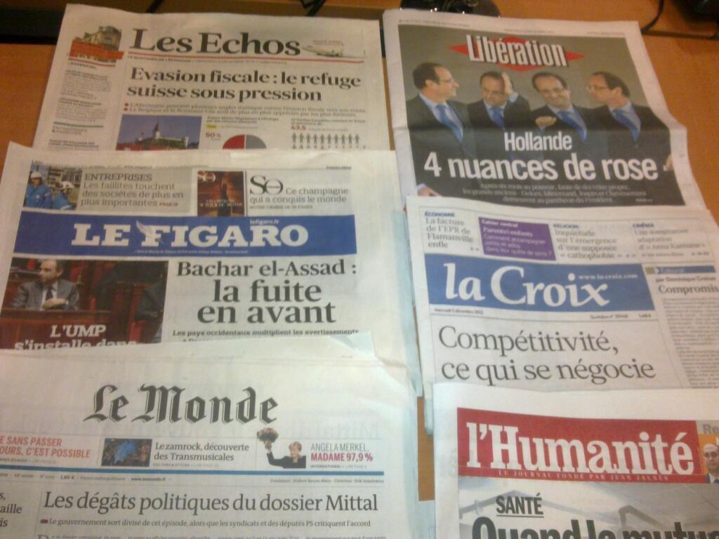Diários franceses  05/12/2012