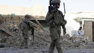 L'armée américaine sur les lieux d'une explosion dans la province de Kandahar le 19 mai 2011.