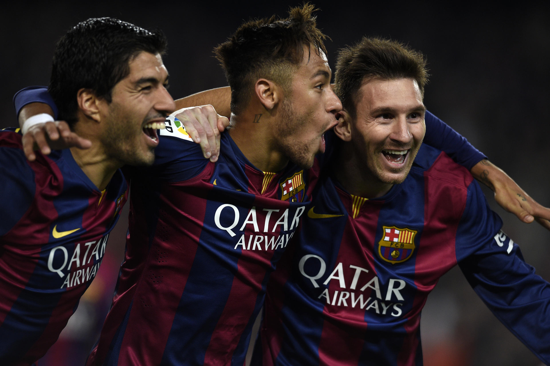 Luis Suarez, Neymar et Lionel Messi, en 2015 sous le maillot du FC Barcelone.