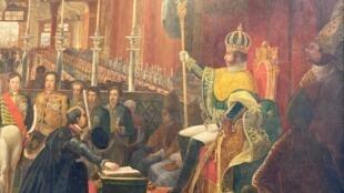 """Detalhe do quadro """"A Coroação de D. Pedro I"""",  de Jean-Baptiste Debret"""
