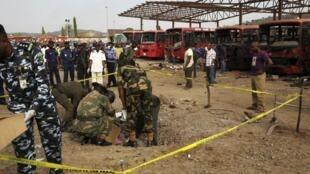 La estación de autobuses de Abuya, tras el atentado.