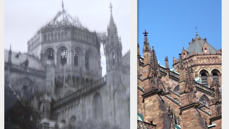 Catedral de Estrasburgo depois do bombardeio de 1944 e agora.
