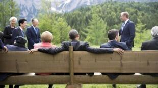"""Участники саммита """"Большой семерки"""" в Германии."""