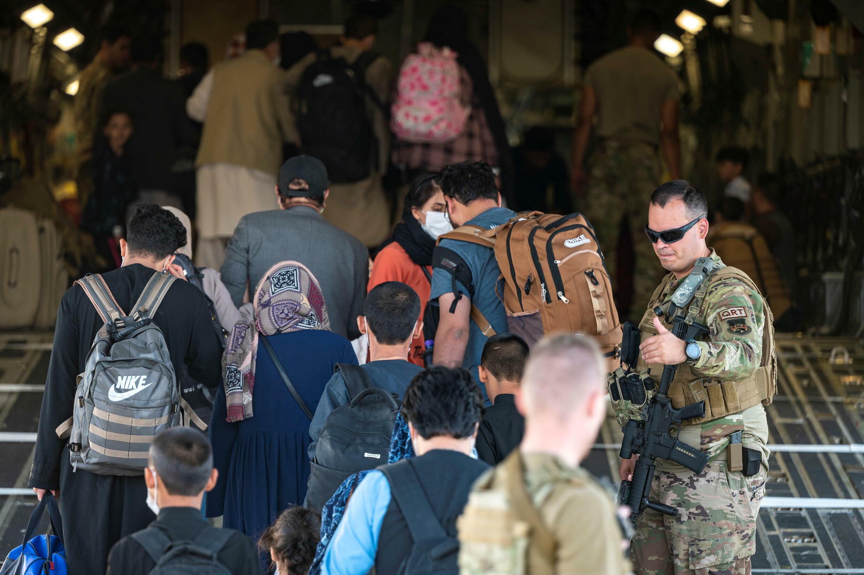 從事阿富汗撤離行動的美軍士兵資料圖片