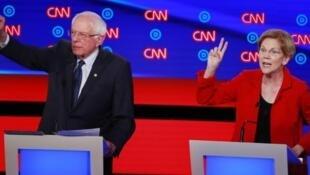 美國國會參議員、民主黨2020總統參選人桑德斯與沃倫資料圖片