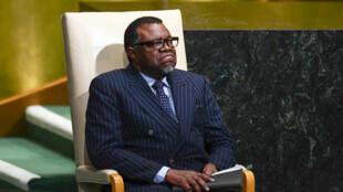 Le président namibien Hage Geingob à la 72e Assemblée générale des Nations unies, à New York le 20 septembre 2017.