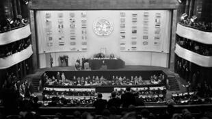Le 22 septembre 1948, Vincent Auriol prononce un discours lors de la cérémonie d'ouverture de la troisième Assemblée des Nations unies à l'issue de laquelle, le 10 décembre 1948, fut adoptée la Déclaration universelle des droits de l'homme.