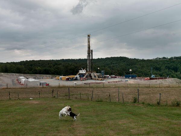 Un équipement de forage de gaz de schiste, à proximité d'une ferme laitière en Pennsylvanie, USA.