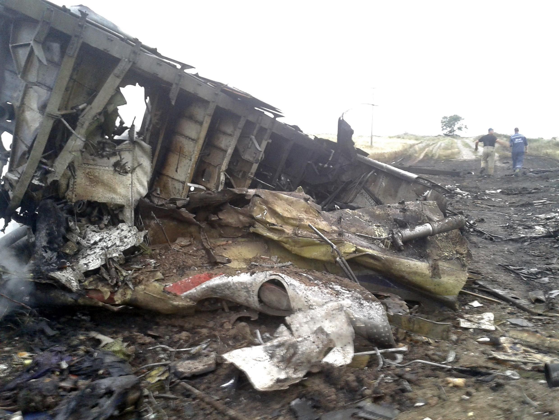 Mabaki ya ndege Boeing 777 ya Malaysia Airlines iliypata ajali alhamisi Julai 17 mwaka 2014