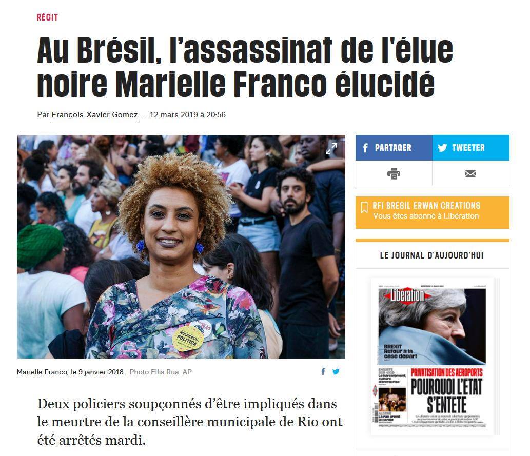 Texto do jornal Libération sobre prisão de dois suspeitos do duplo assassinato de Marielle Franco e Anderson Gomes.