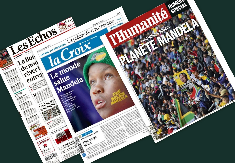 Capa dos jornais franceses Les Echos, La Croix e L'Humanité desta quarta-feira, 11 de dezembro de 2013
