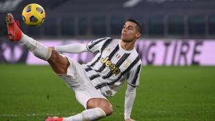 L'attaquant portugais de la Juventus, Cristiano Ronaldo, auteur d'un doublé lors du match de Serie A face à Crotone, à Turin, le 22 février 2021