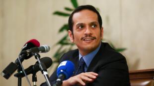 Ngoại trưởng Qatar Mohammed bin Abdulrahman al-Thani họp báo tại Roma, ngày 01/07/2017.