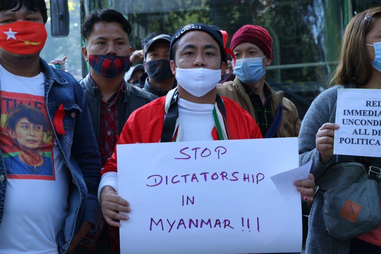 Christians originally from Myanmar joined protests against the coup in Delhi_6 Feb 2021_Murali Krishnan