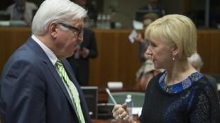 Le ministre des Affaires étrangères allemand Steinmeier avec son homologue suédoise Margot Wallstrom, lors de la réunion du 19 janvier des ministres des Affaires étrangères à Bruxelles.