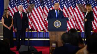 """Ông Donald Trump phát biểu tại Nhà Trắng, Washington D.C, Hoa Kỳ đêm  03/11/2020, khẳng định """" đã chiến thắng"""" dù còn nhiều bang chưa kiểm xong phiếu."""