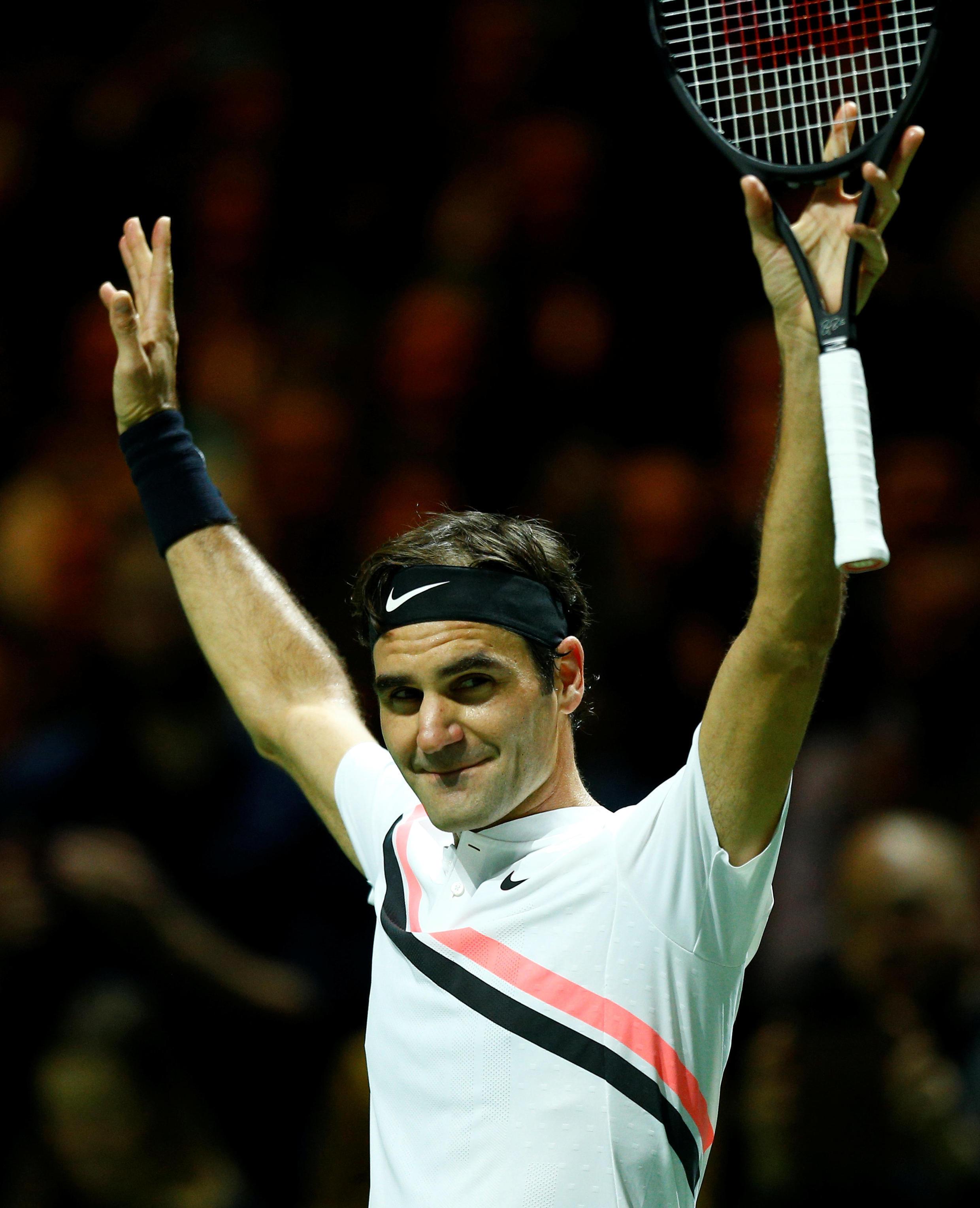 Roger Federer tras su victoria en Róterdam.