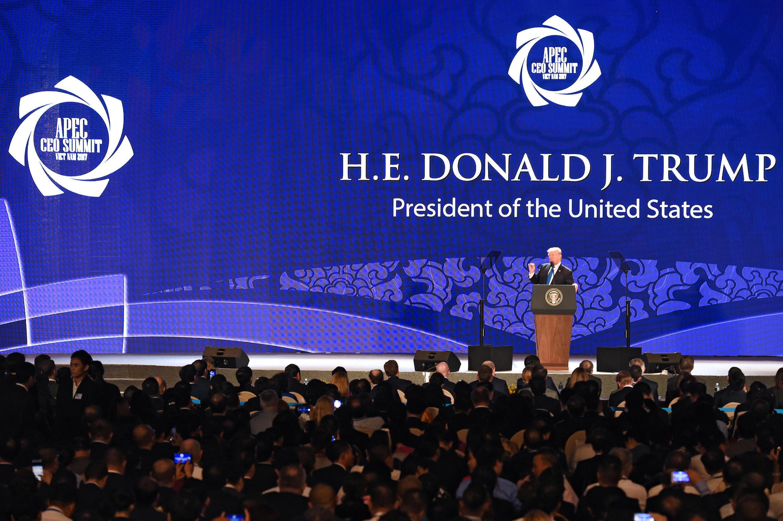 Discours de Donald Trump au sommet de l'Apec, à Danang, le 10 novembre 2017.