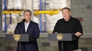 Le président colombien Iván Duque et le secrétaire d'Etat américain Mike Pompeo lors d'une conférence en avril 2019.