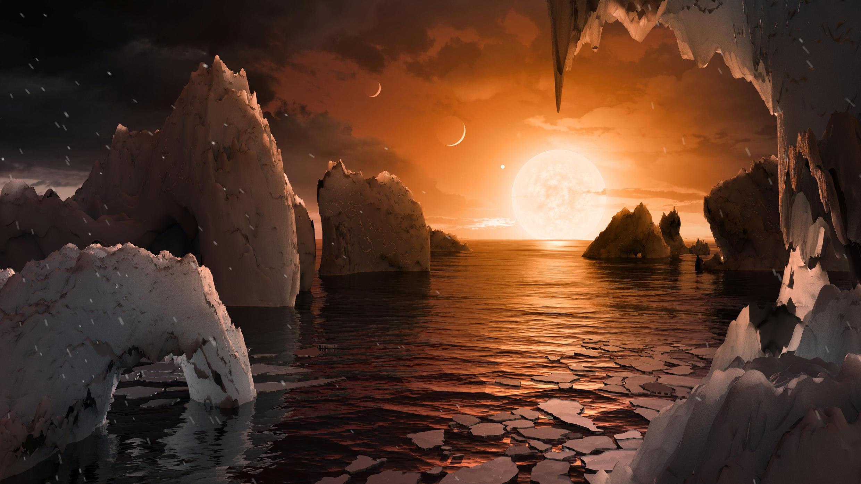 Mô tả của một nghệ sĩ về bề mặt hành tinh ngoài Trái đất mới được kính viễn vọng không gian Spitzer phát hiện và công bố ngày 22/02/2017.