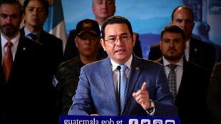 El presidente de Guatemala Jimmy Morales el 4 de septiembre.