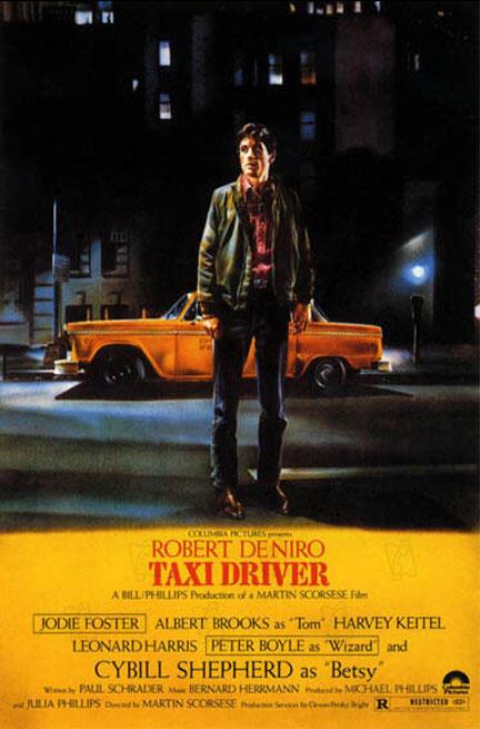 """Cartaz de """"Taxi Driver"""", por Guy Peellaert."""