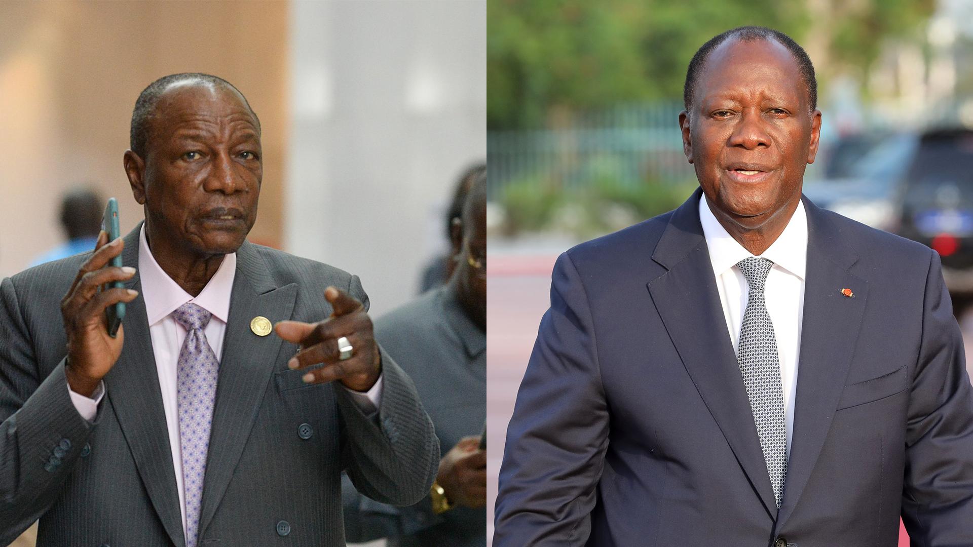 Les présidents Alpha Condé (à gauche) et Alassane Ouattara (à droite).