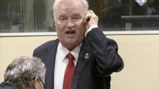 Ratko Mladic hurlant à l'annonce du verdict au Tribunal pénal international pour l'ex-Yougoslavie, le 22 novembre 2017.