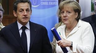Nicolas Sarkozy et  Angela Merkel, à Bruxelles, juin 2011.
